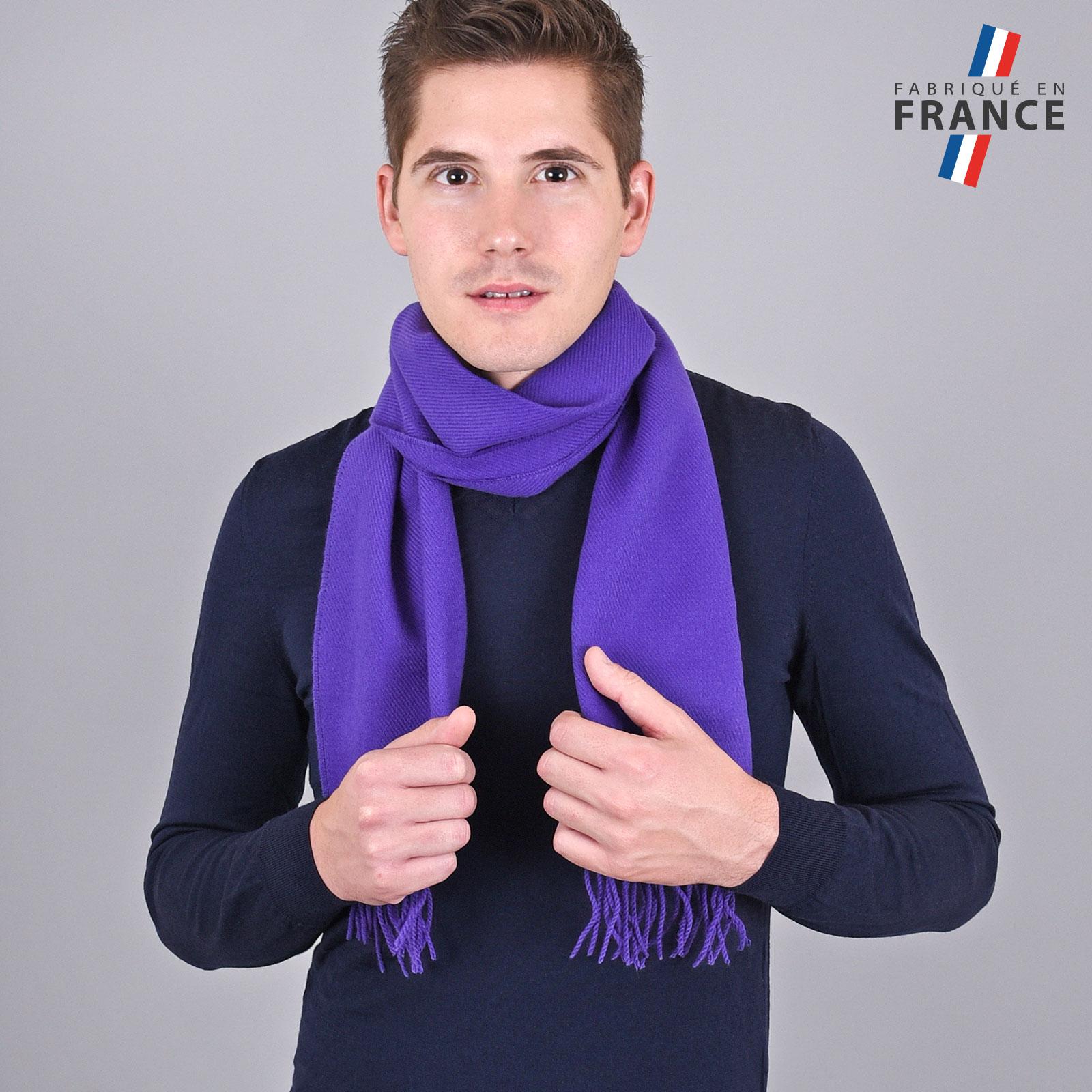 Echarpe violet indigo à franges - Fabriquée en France 0fc33c1ffb2