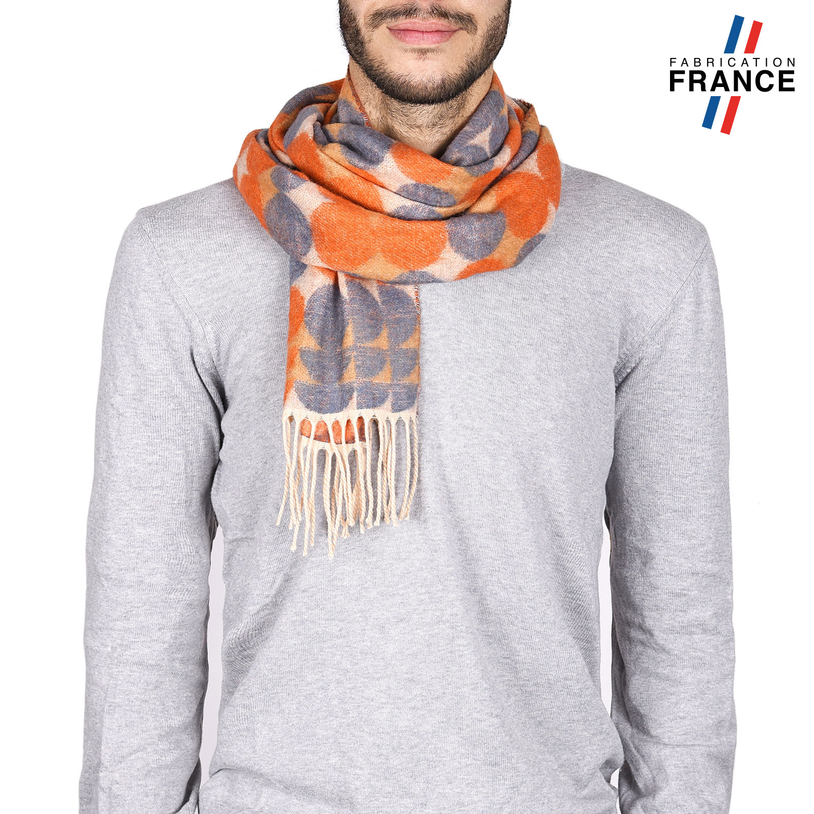 Echarpe homme hiver Orange, motifs bulles - Made in France 2a27ad0fd1f