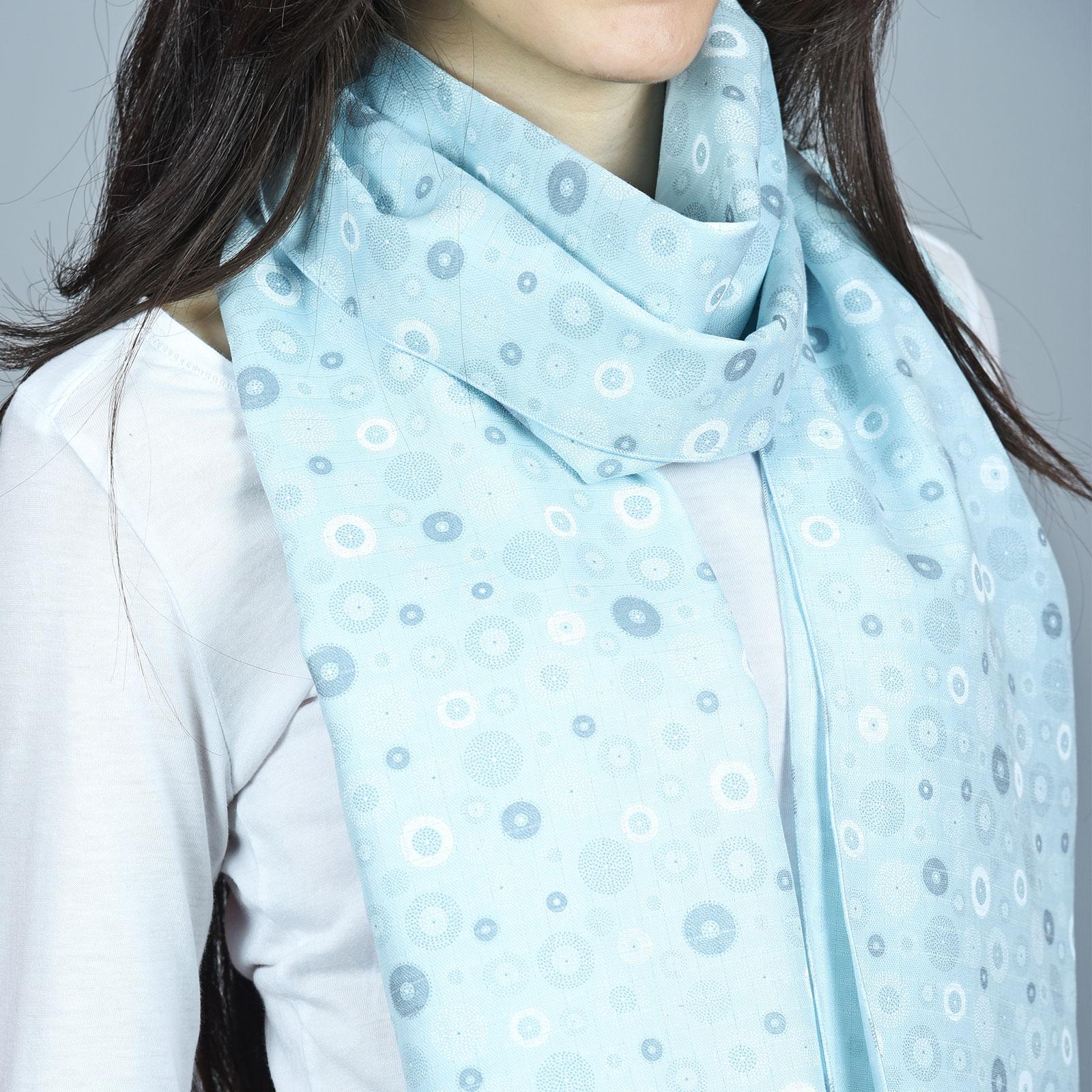 Echarpe légère Bleue ciel, motifs roues - 100% coton 02283a60601
