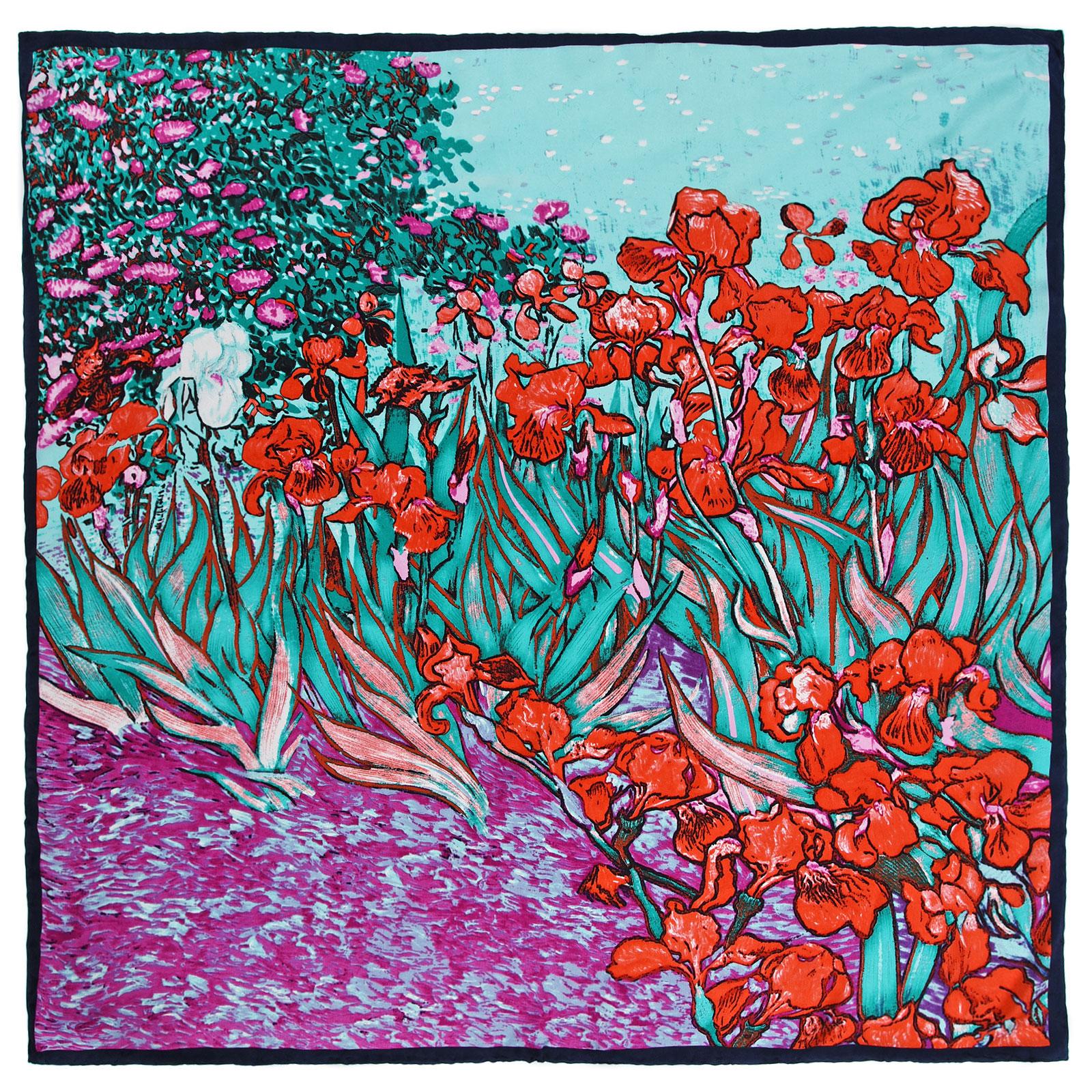 Carré de soie Iris rouge - Reproduction Van Gogh 6a484e6744d