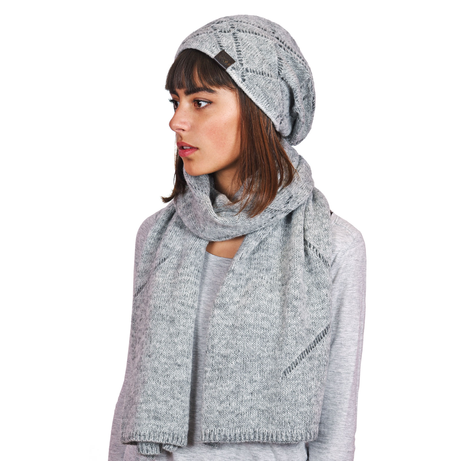 51ec99eae5b54 Echarpe femme et bonnet gris Adama - Made in Europe