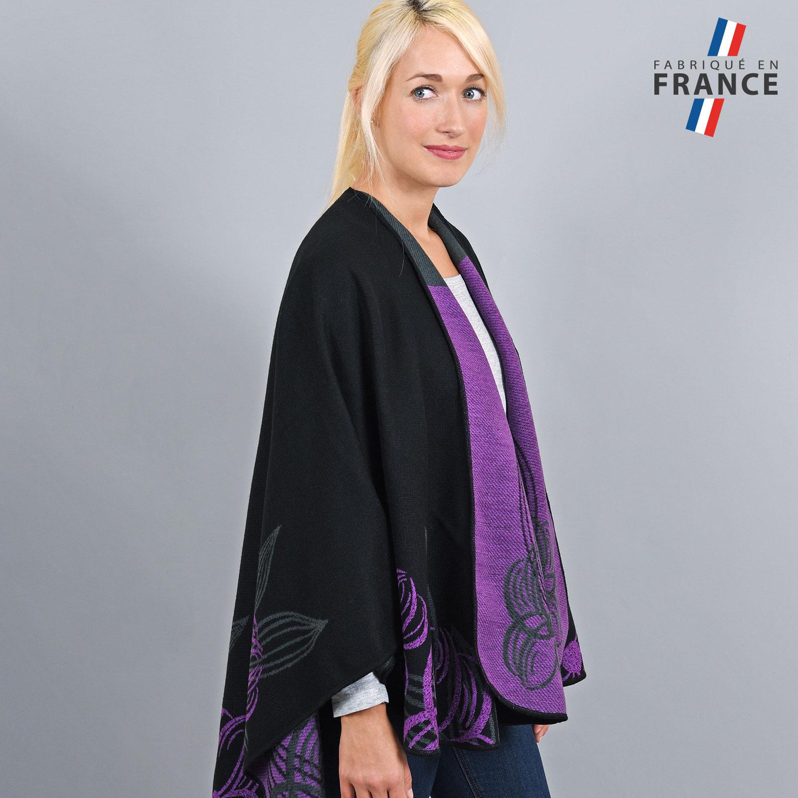 AT-03253-VF16-2-LB_FR-poncho-femme-noir-fleurs-mauve-fabrique-en-france
