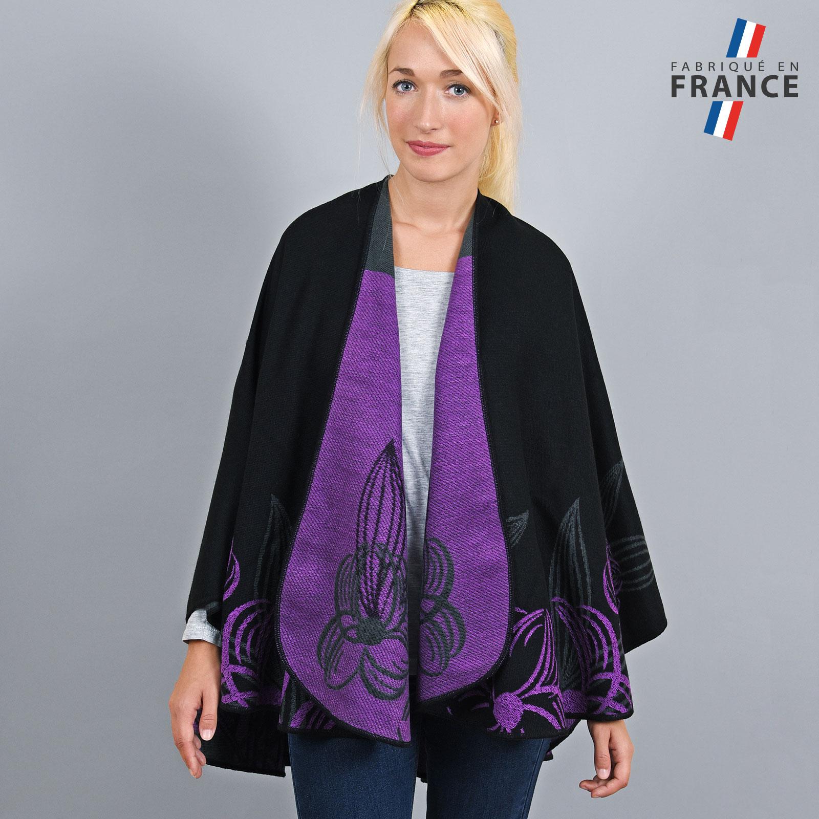 AT-03253-VF16-1-LB_FR-poncho-femme-noir-fleurs-mauve-fabrique-en-france