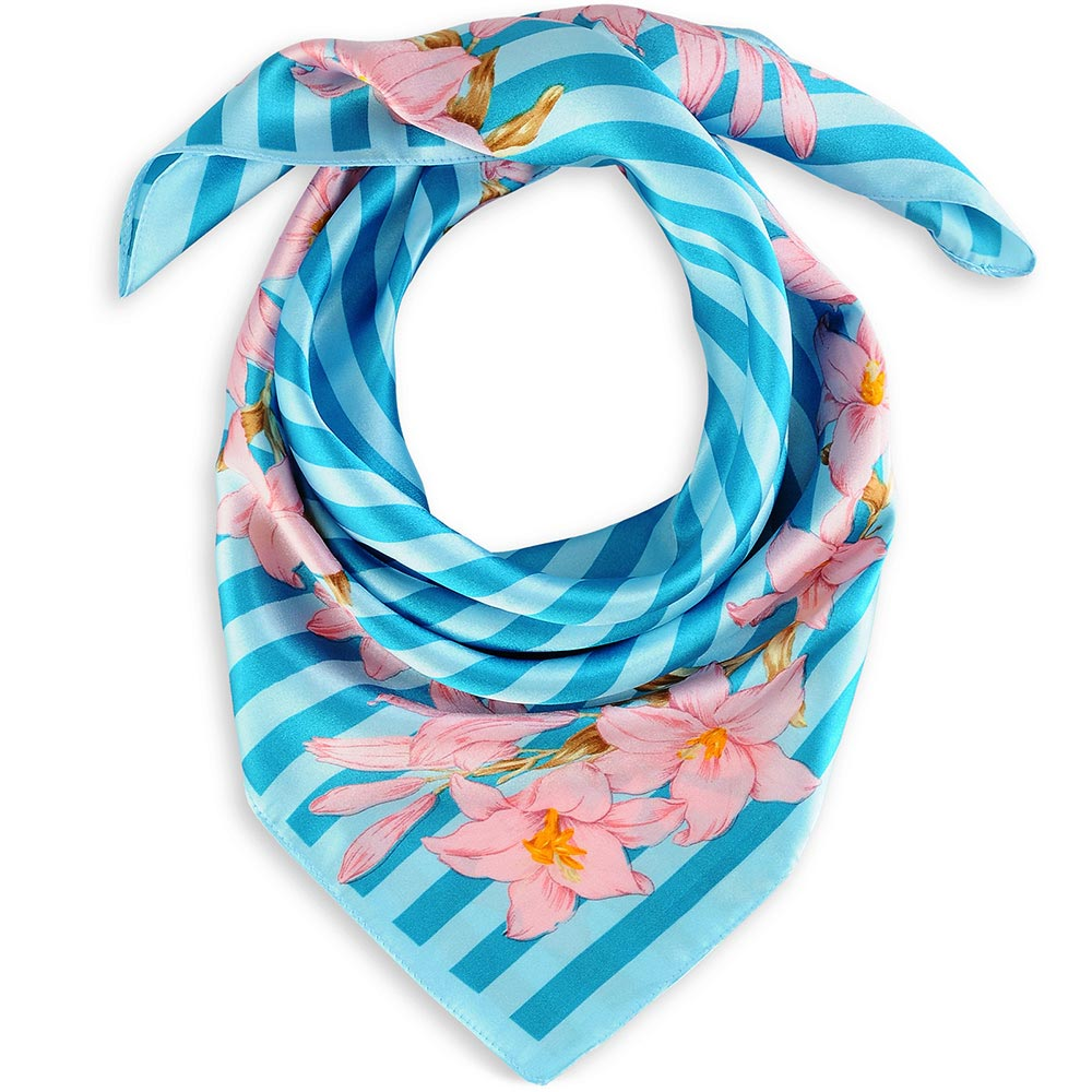 AT-01692-F10-1-foulard-carre-polysatin-fleurs-de-vanille-turquoise