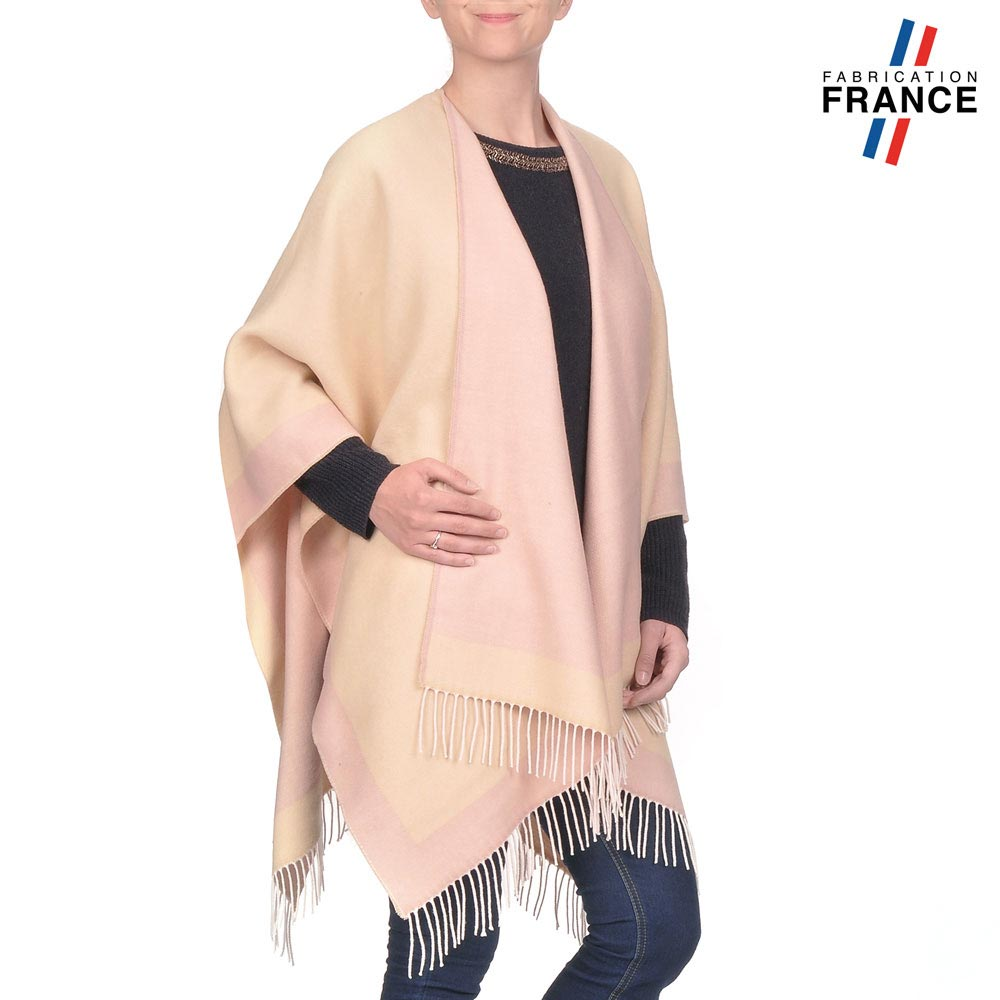 AT-03205-VF10-P-LB_FR-poncho-a-franges-creme-rose-fabrication-france