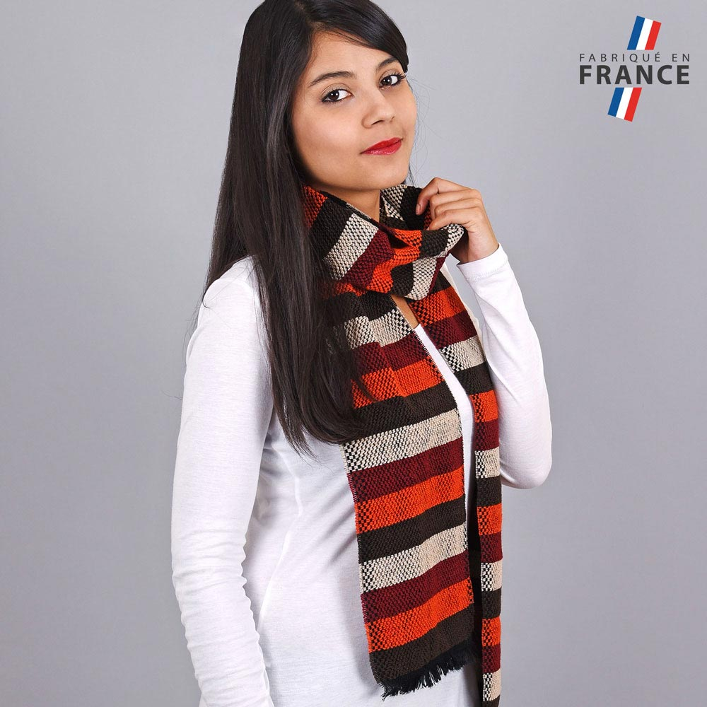 AT-03485-VF10-LB_FR-echarpe-rayures-orange-bordeaux-fabrication-france