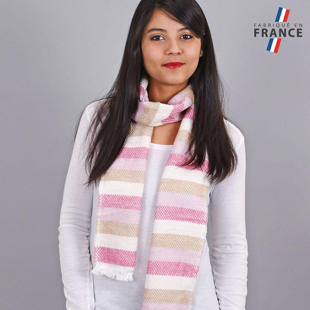 AT-03487-VF10-LB_FR-echarpe-rayures-rose-creme-fabrication-france