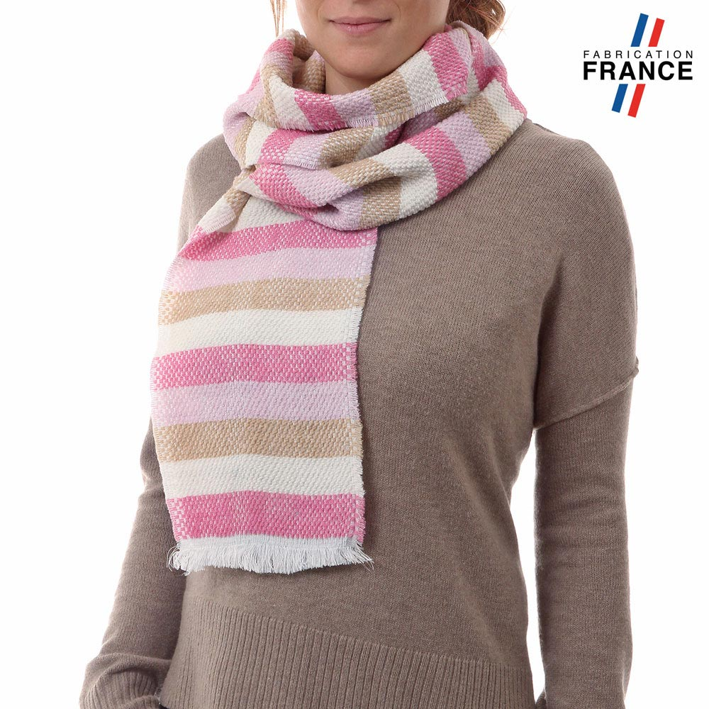 AT-03487-VF10-P-LB_FR-echarpe-rayures-rose-creme-fabrication-france