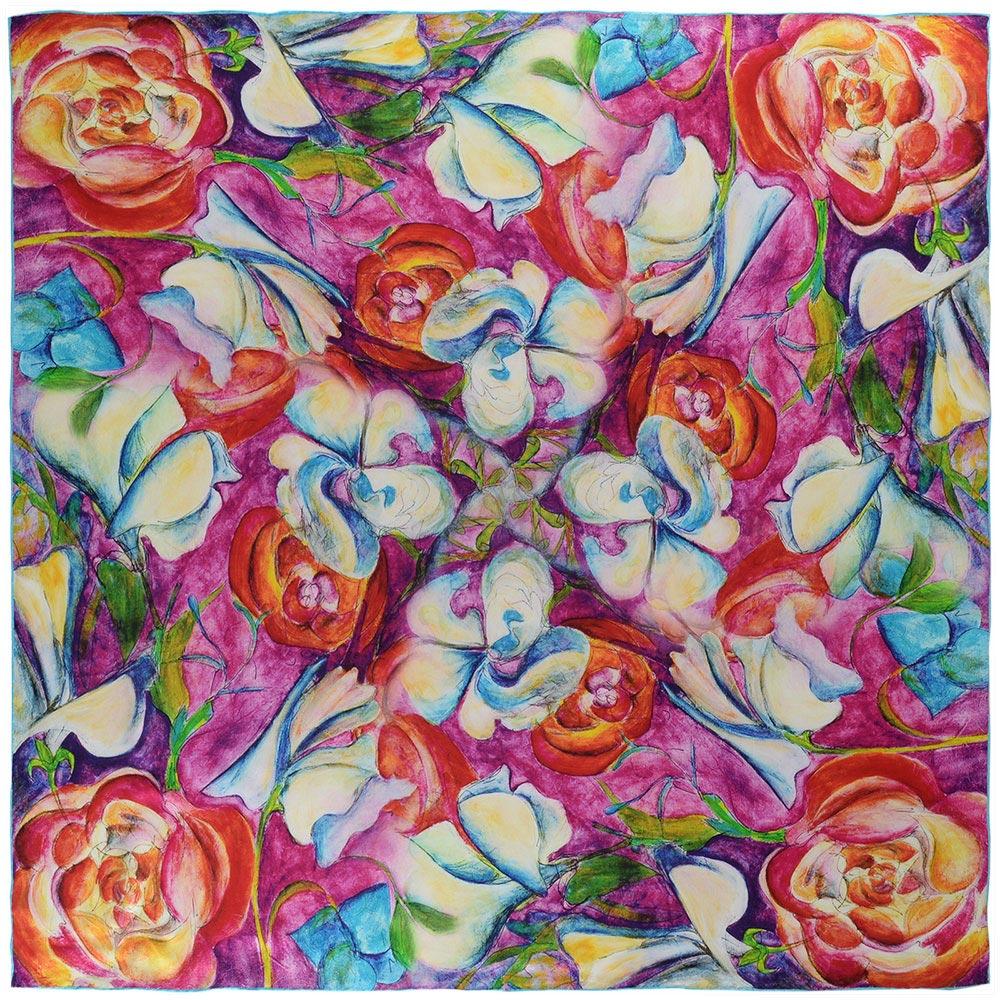 AT-03814-fuchsia-A10-carre-soie-fleurs-naives-multicolores