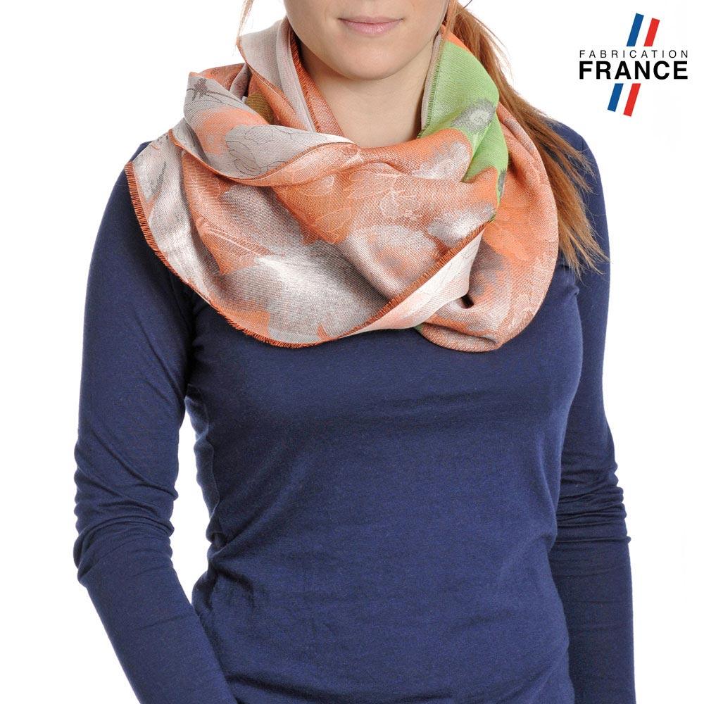 AT-04237-VF10-P-LB_FR-echarpe-femme-fabrication-france-feuilles-fleurs-orange