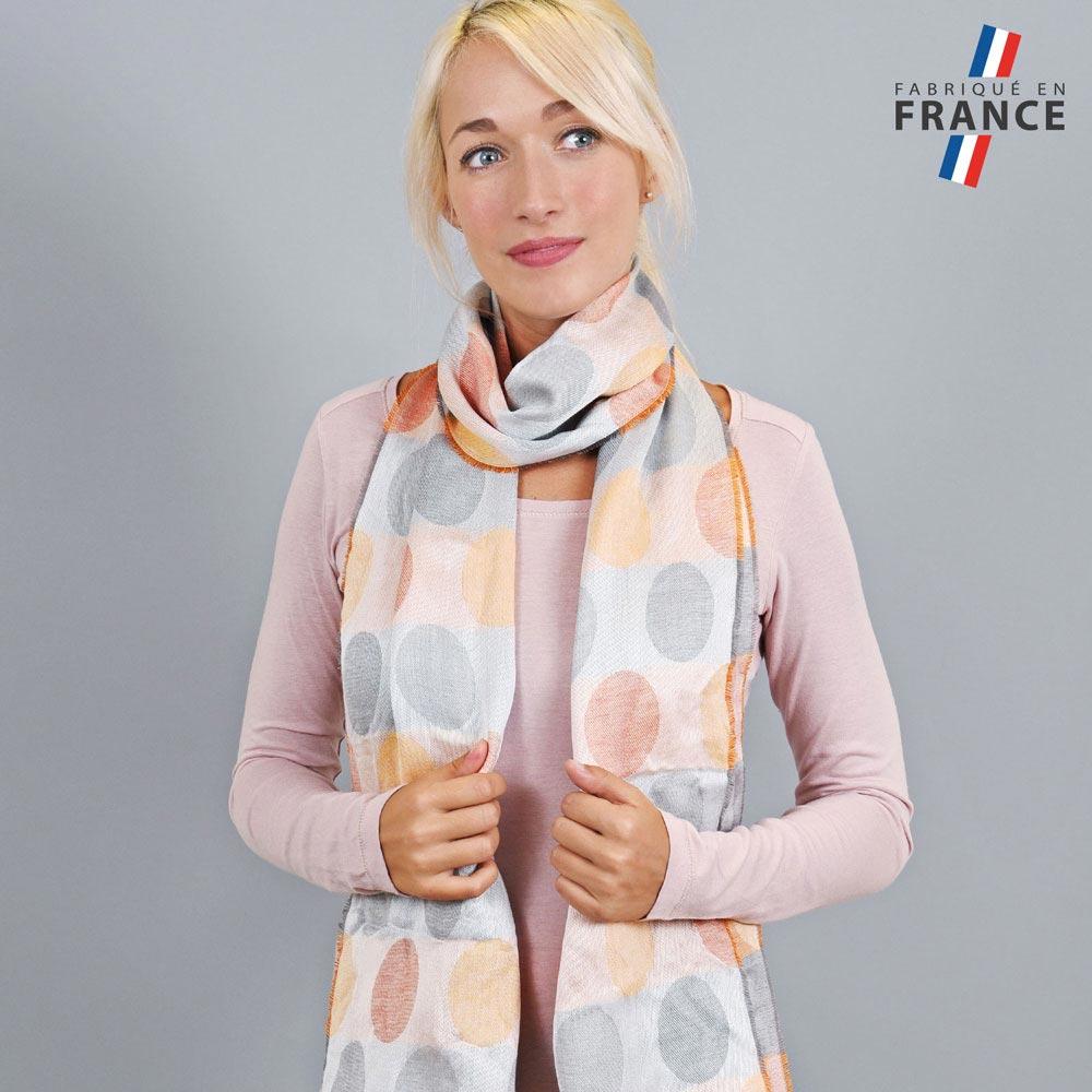 AT-04286-VF10-LB_FR-echarpe-legere-bulles-gris-orange-fabrique-en-france