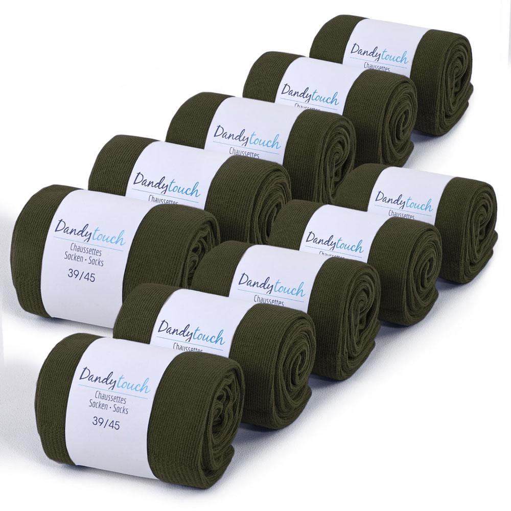 CH-00477-F10-lot-10-paires-de-chaussettes-homme-vert-kaki-unies