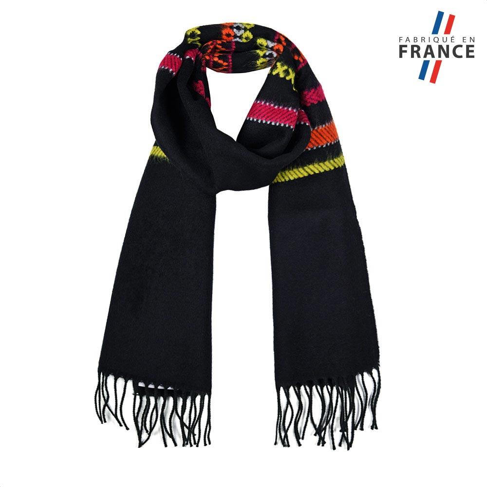 AT-05636-F10-FR-echarpe-noire-bandes-multicolores