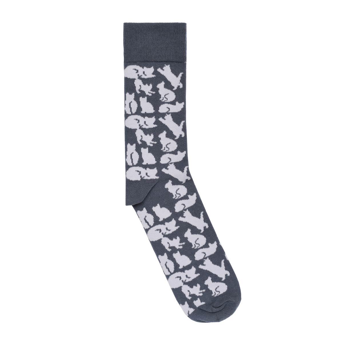 CH-00738-A12-chaussettes fantaisie-homme-chats-gris-40-45