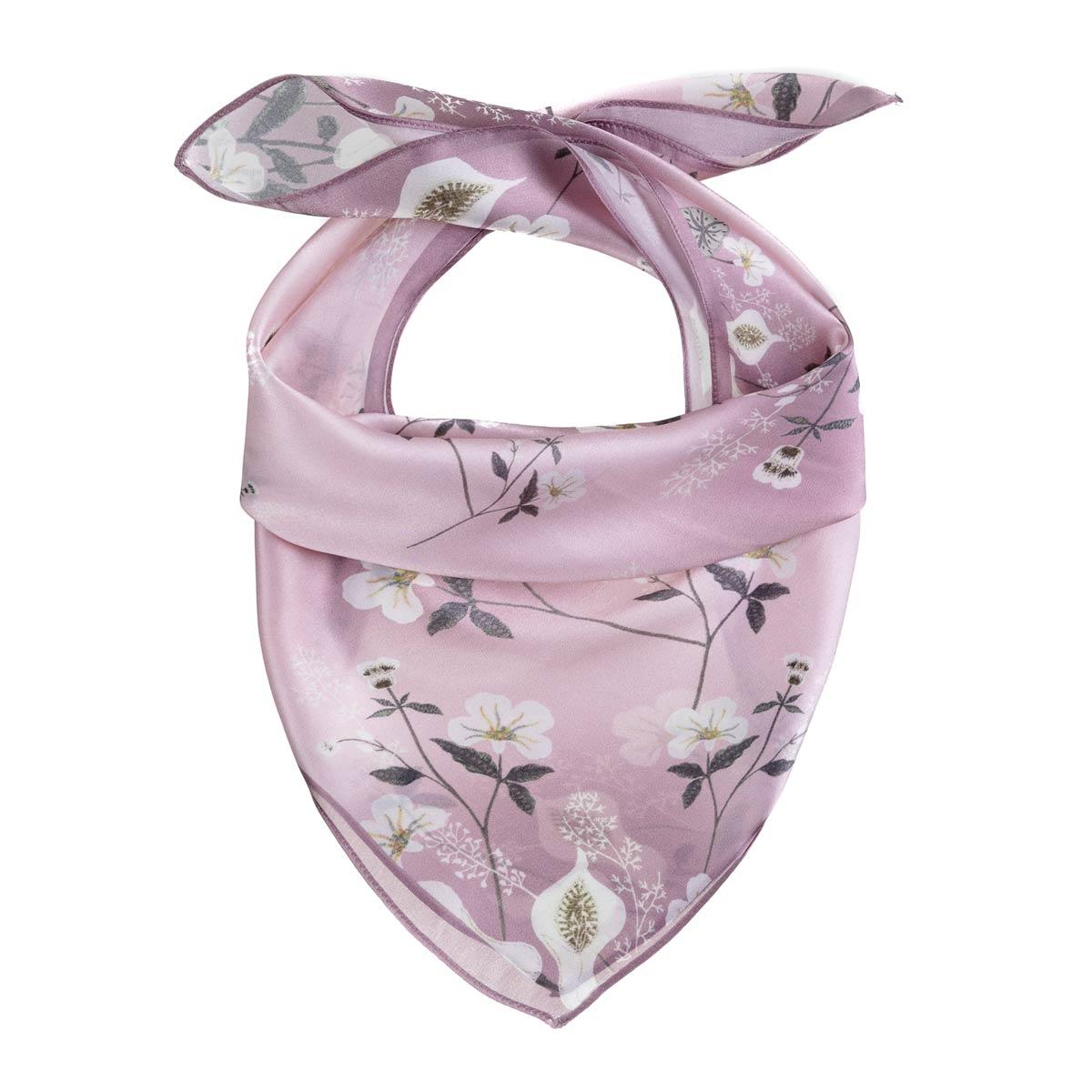 _Foulard-carre-de-soie-rose-fleurs-blanches