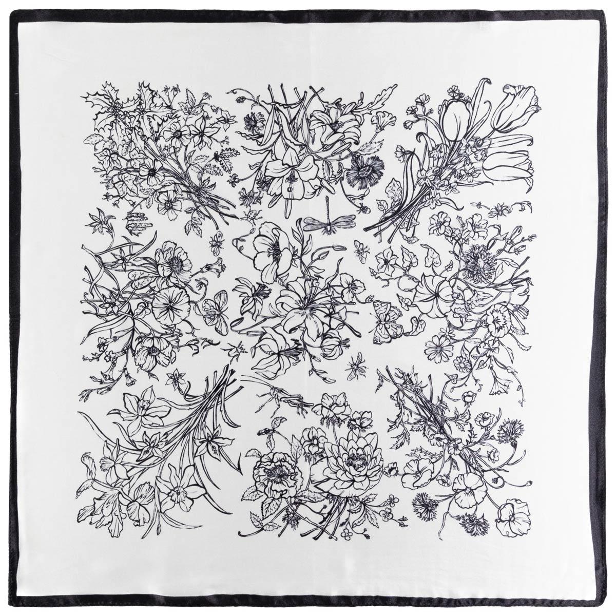 _Carre-soie-floral-noir-et-blanc
