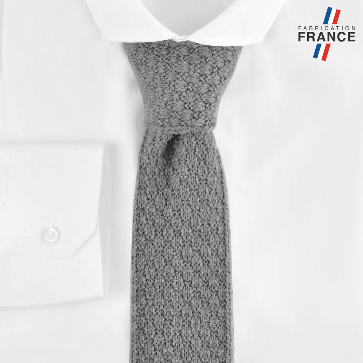CV-00463_F12-2FR_Cravate-tricot-grise-fabrication-francaise