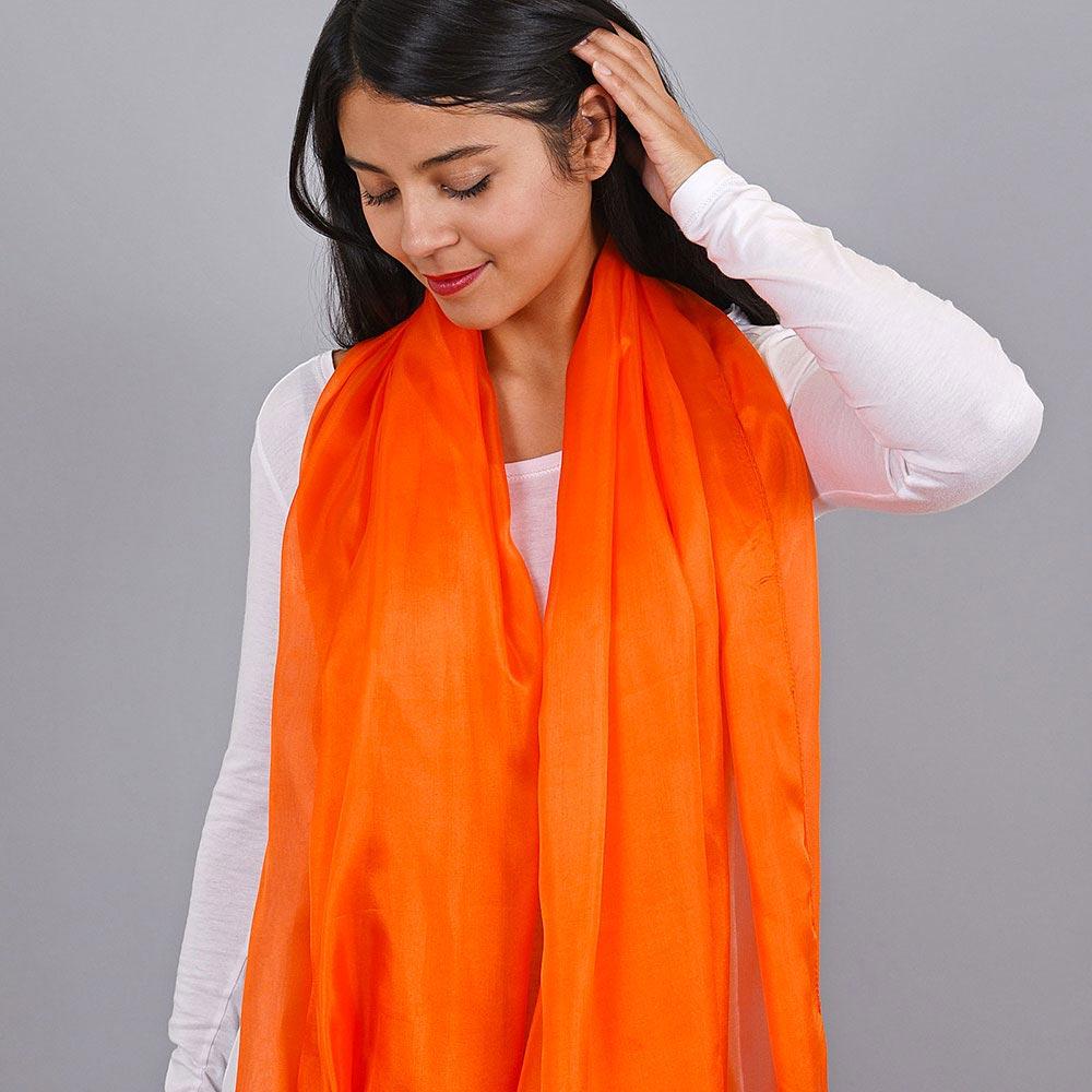 _Etole-soie-femme-orange-uni
