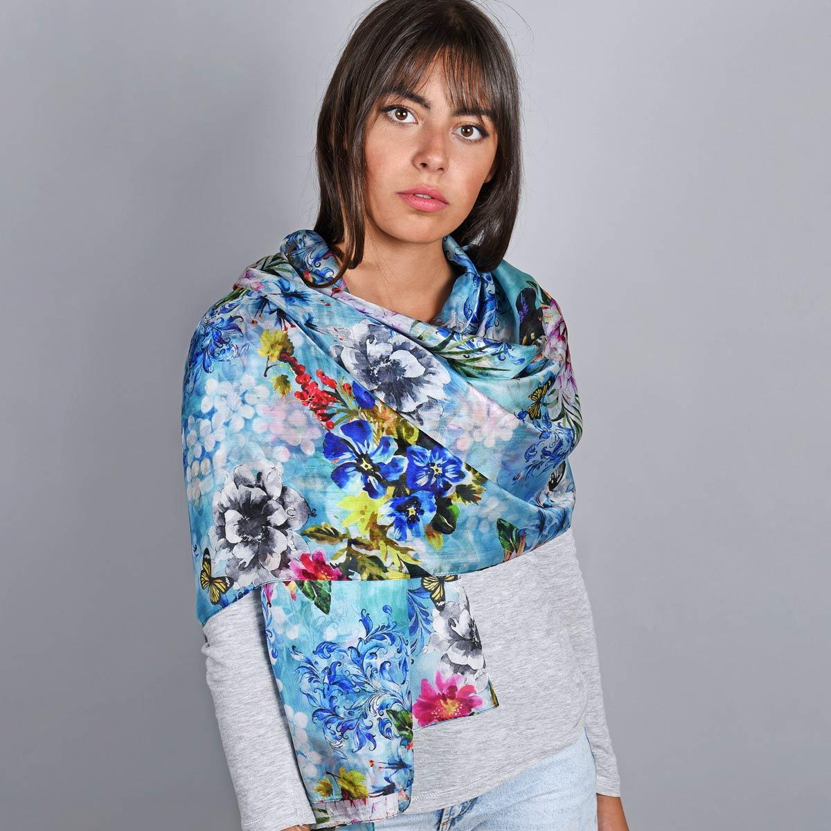 _Etole-soie-florale-bleue