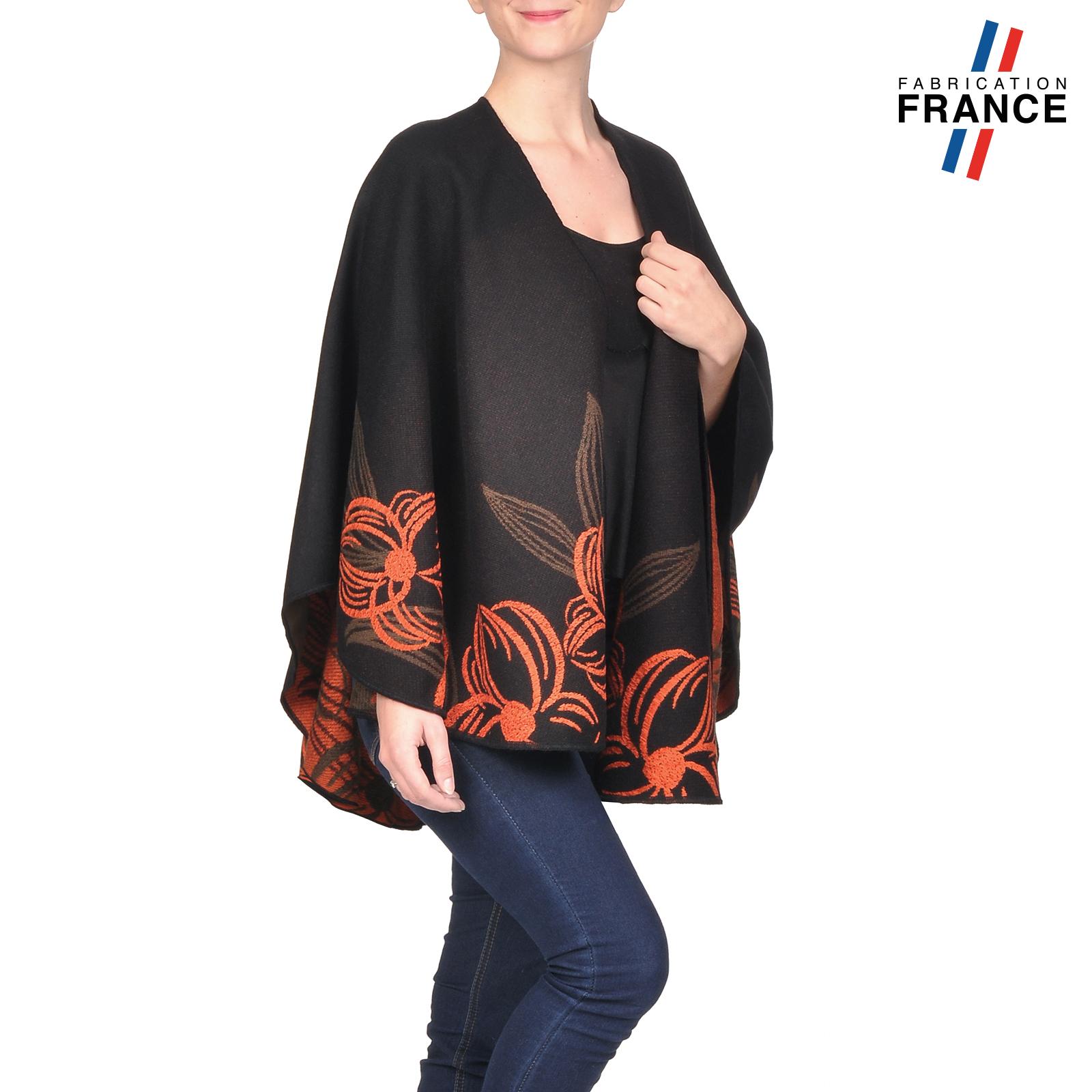 AT-03249-V16-poncho-femme-noir-fleurs-orange-fabrique-en-france