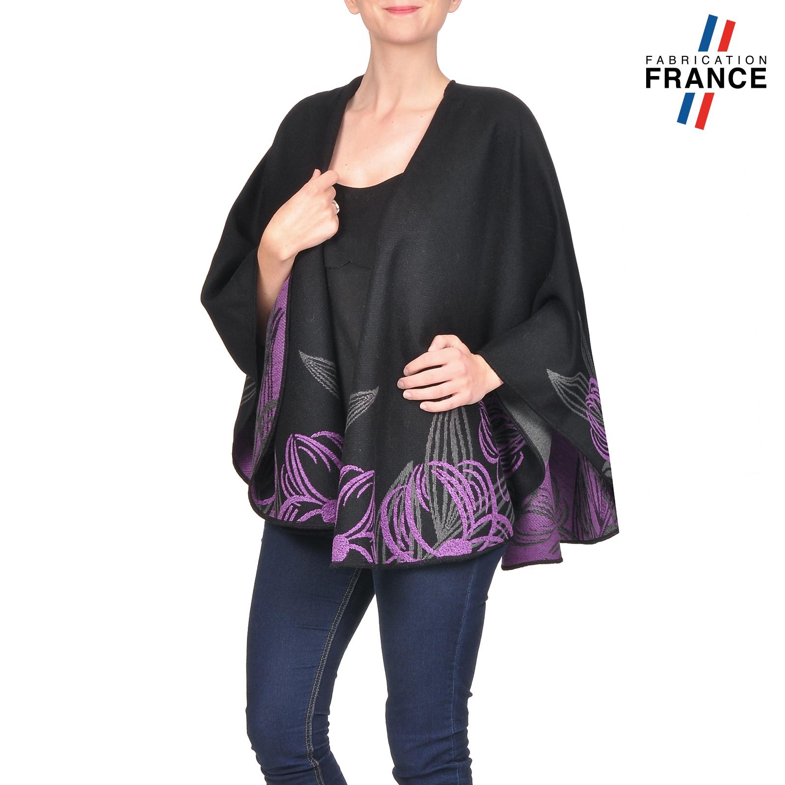 Poncho noir imprim floral violet fabriqu en france - Poncho femme noir ...