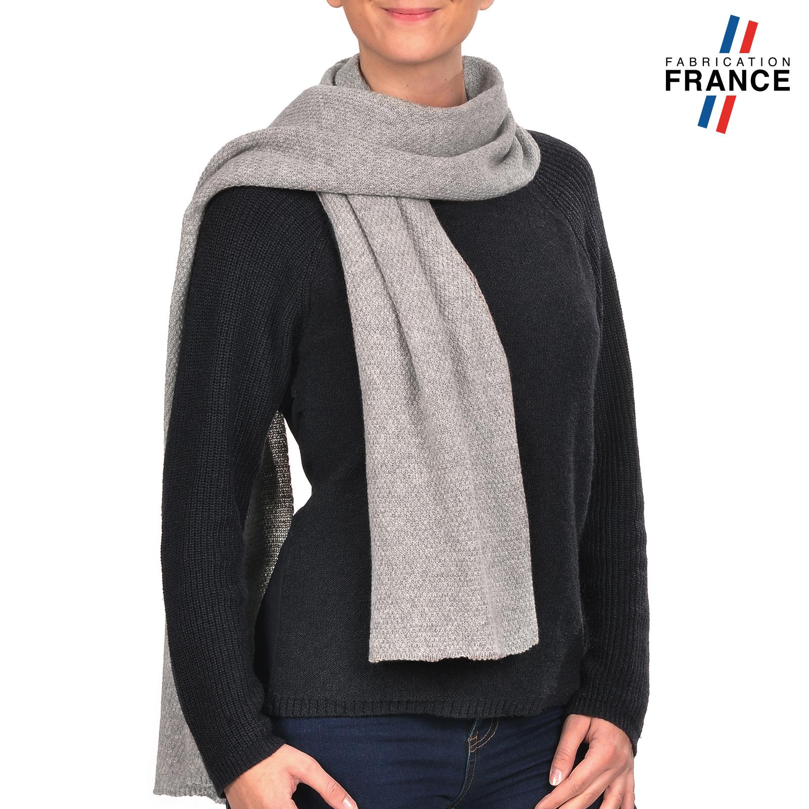 Echarpe laine grise grande echarpe noire   Arts4a d1e7b3861a2