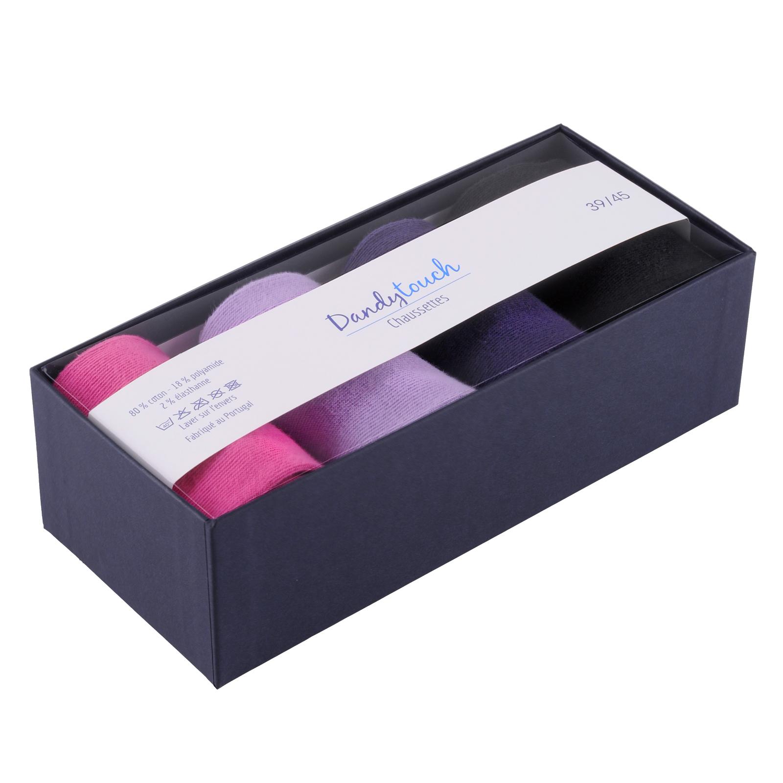 coffret 4 paires de chaussettes dandytouch rose lilas aubergine et noir. Black Bedroom Furniture Sets. Home Design Ideas