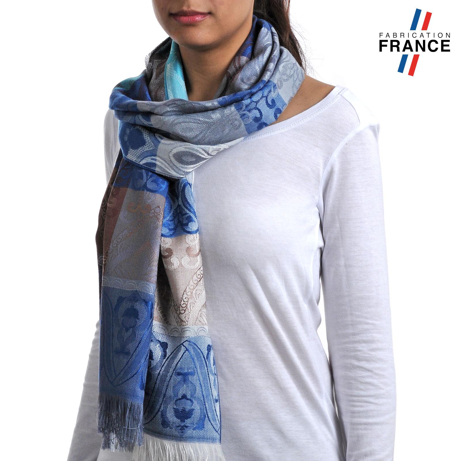 Echarpe femme bleu   Congres aecg a94447bd83e