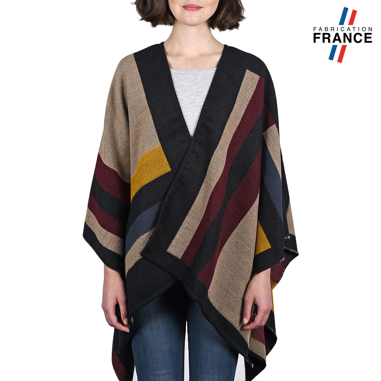 Poncho patchork multicolore laika - Poncho femme noir ...