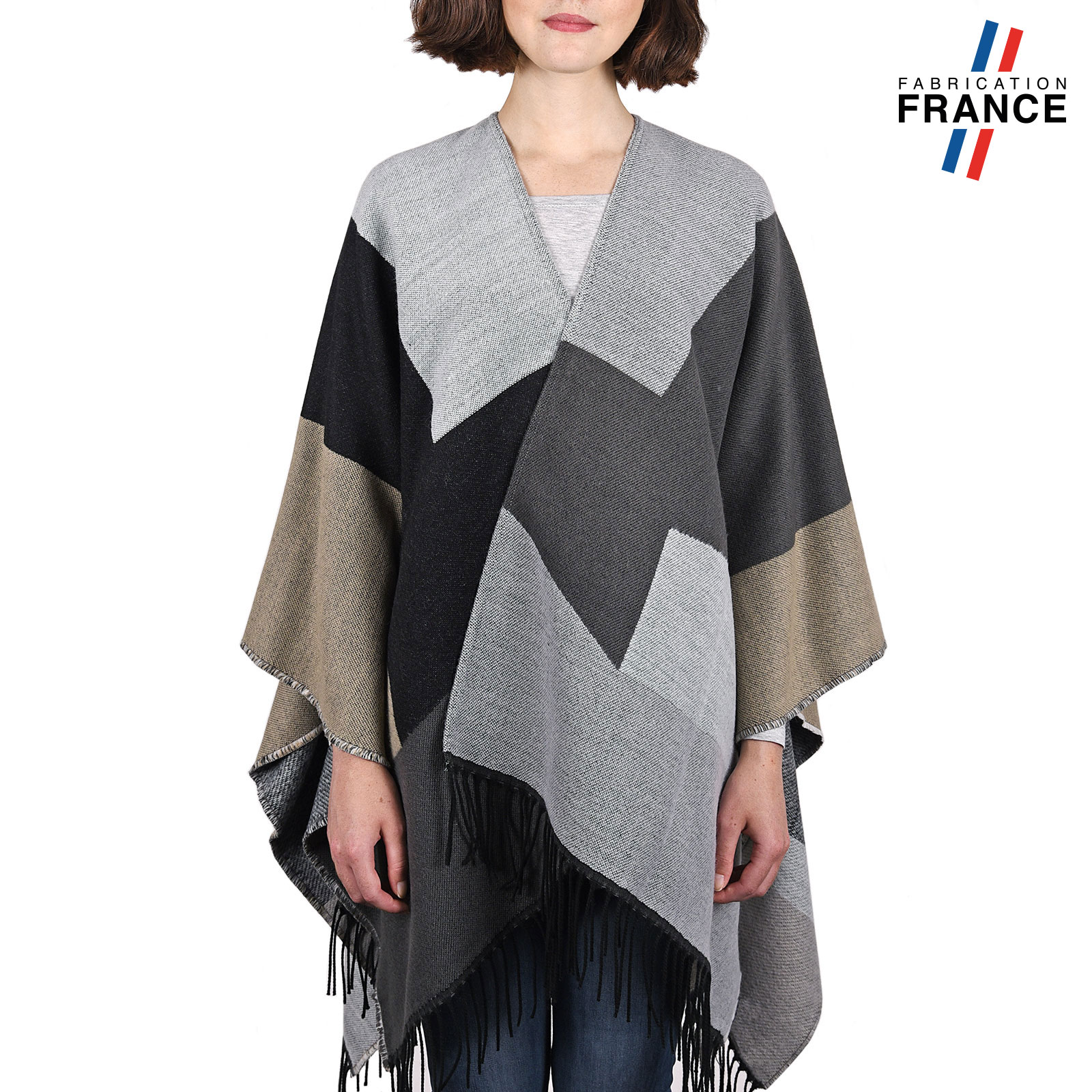 echarpe femme effet poncho foulard femme biface style couverture. Black Bedroom Furniture Sets. Home Design Ideas