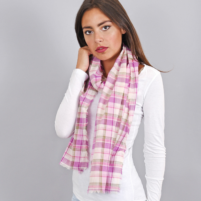f13dd97ea98 Echarpe pur coton rose et mauve