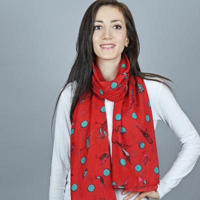 Chèche pur coton Luccel vert sur rouge 07c653c71b0