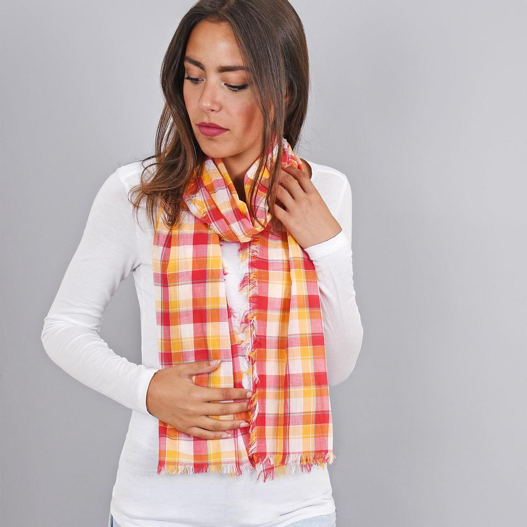 832e09827ce Echarpe Madras pur coton orange et fuchsia