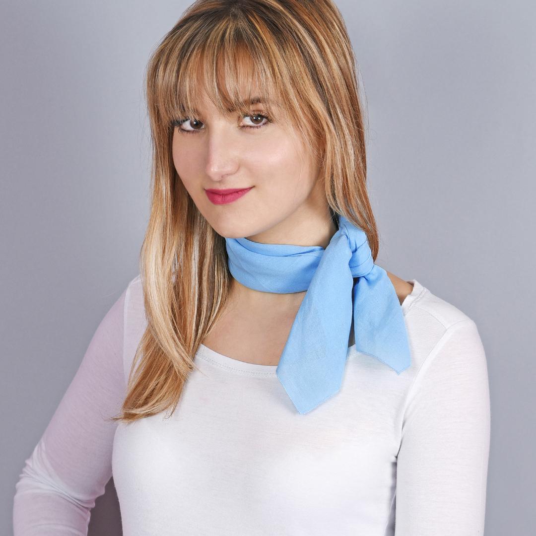 Bandana en coton, Bleu ciel uni 2d526581030