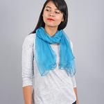 Foulard mousseline soie <br/>Bleu pétrole uni