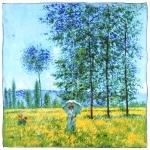 Carré de soie SilkArt <br/>Claude Monet <br/>Sous les peupliers, effet de soleil