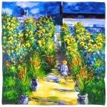 Carré de soie SilkArt <br/>Claude Monet <br/>Jardin de l&#039;artiste à Vetheuil