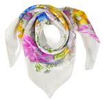 Carré de soie Premium <br/>Arabesque florale blanc