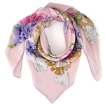 Carré de soie Premium <br/>Arabesque florale rose
