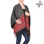Poncho rayures SONIA <br>Gris et Rouge