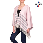 Poncho rayures SONIA <br/>Rose et Gris