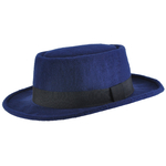 Chapeau Pork Pie réglable <br/>STACY Bleu