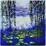 Carré de soie SilkArt <br/>Claude Monet <br/>Nymphéea bleues et saules