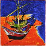 Carré de soie SilkArt <br/>Van Gogh <br/>Bateaux de pêche
