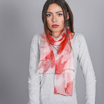 Foulard mousseline de soie Tulipes Rouges