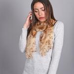 Foulard mousseline de soie Savana Beige