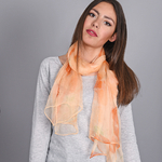 Foulard mousseline de soie Strata Orange