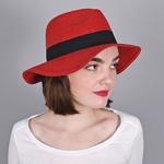 Chapeau Trilby Femme <br/>ROUGE - Larges bords