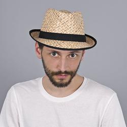 Chapeau de paille trilby Iniales