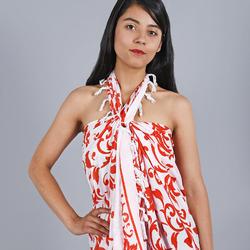 Paréo Batik feuilles ROUGE